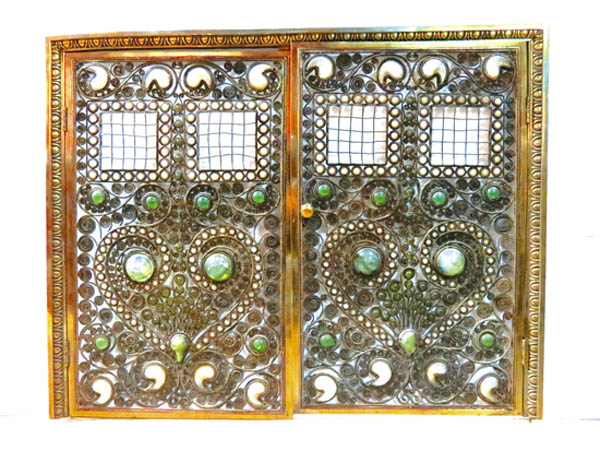 Antiques And Auction News Article: Moorish Bronze Jeweled Fire Screen,  Attributed To Tiffany Studios